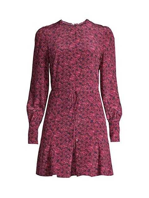 Rosette Long-Sleeve Silk Dress