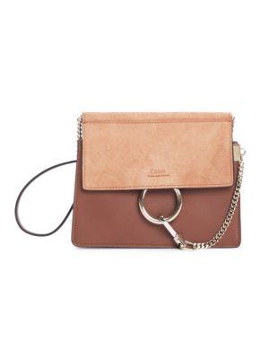 ChloÉ Faye Leather & Suede Shoulder Bag In Rose Gold