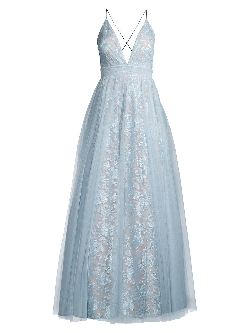 Aidan Mattox WOMEN'S EMBROIDED FLORAL MESH GOWN