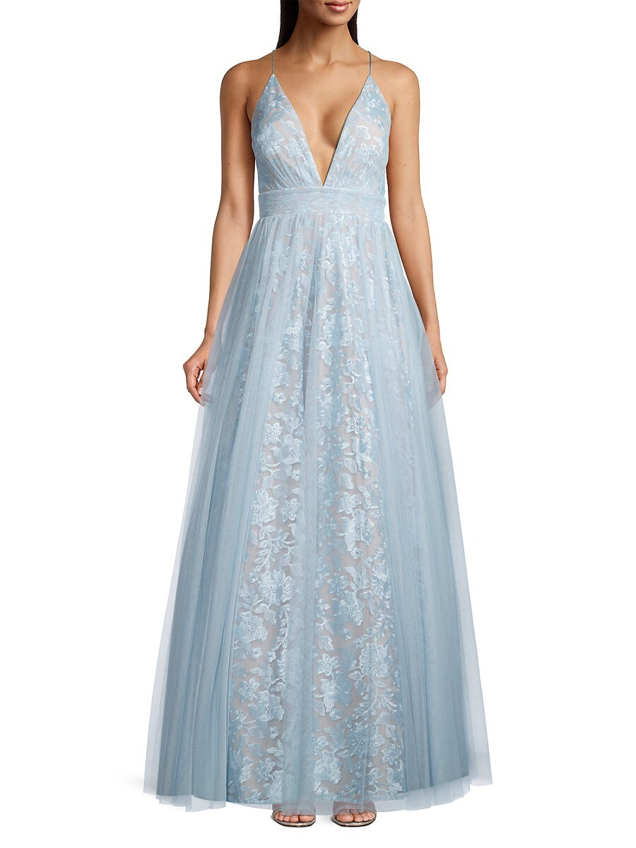 AIDAN MATTOX Gowns WOMEN'S EMBROIDED FLORAL MESH GOWN