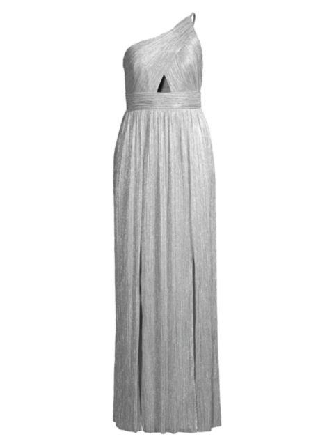 Aidan by Aidan Mattox Metallic One-Shoulder Knit Gown | SaksFifthAvenue