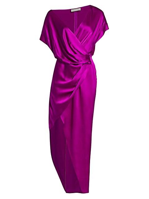 Wide-Neck Silk Wrap Dress
