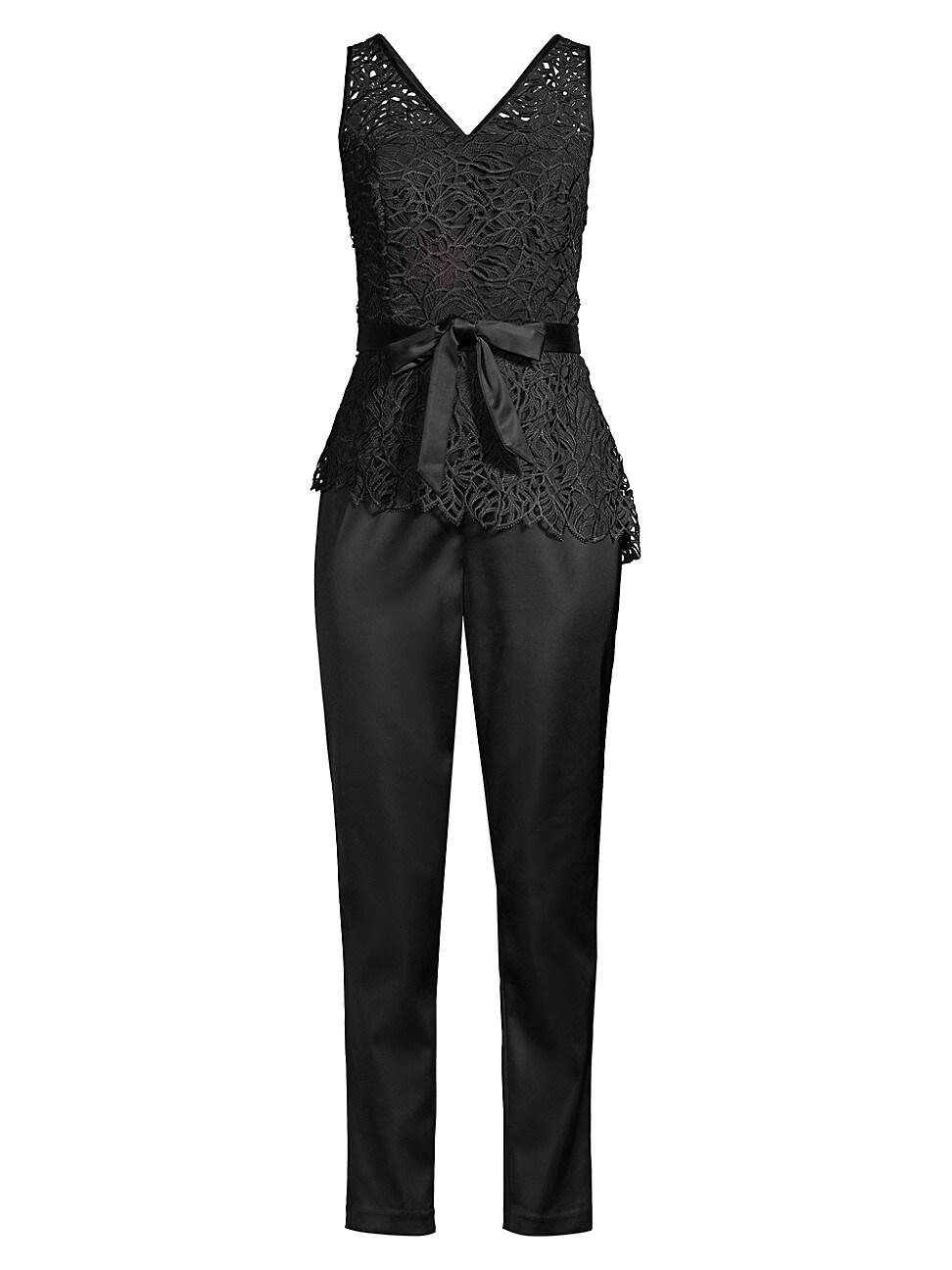 Donna Karan Women's Ivy Lace Top Jumpsuit In Black