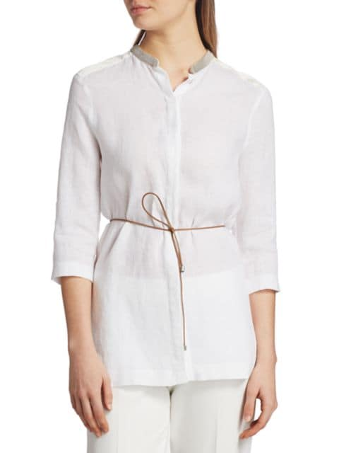 Fabiana Filippi Brilliant-Neck Belted Linen Tunic Top | SaksFifthAvenue