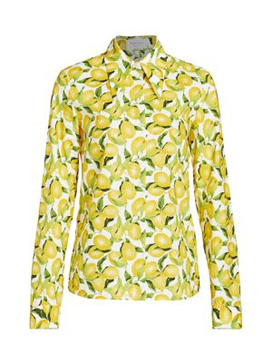 Michael Kors Cottons Lemon-Print Cotton Poplin Button-Front Shirt