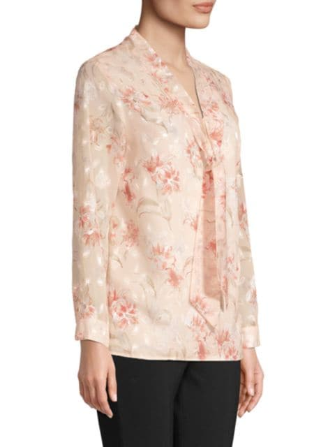 Misook Floral Tie-Neck Blouse   SaksFifthAvenue