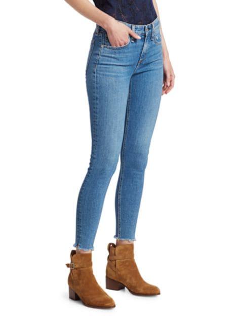 Rag & Bone Cate Mid-Rise Raw Hem Ankle Skinny Jeans | SaksFifthAvenue