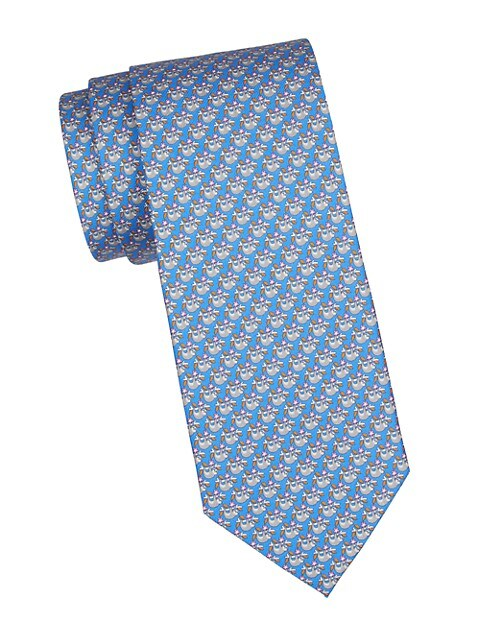 Slot Print Silk Tie