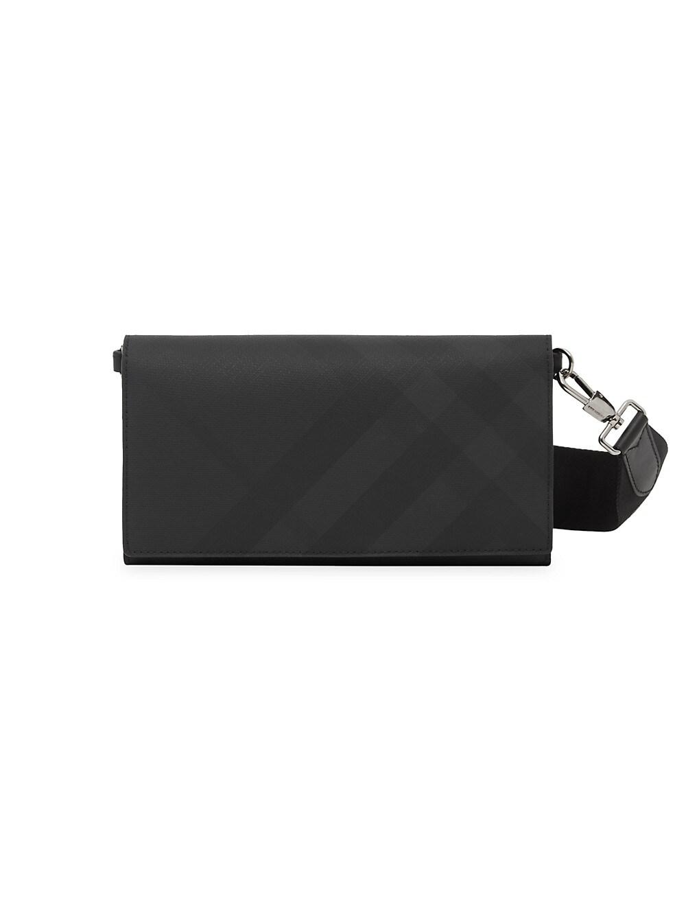 버버리 Burberry London Check Wallet with Detachable Strap,DARK CHARCOAL