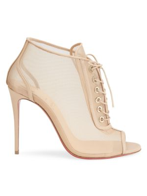 Guilty Soles Sophie Laser Cut Lace-Up Heels