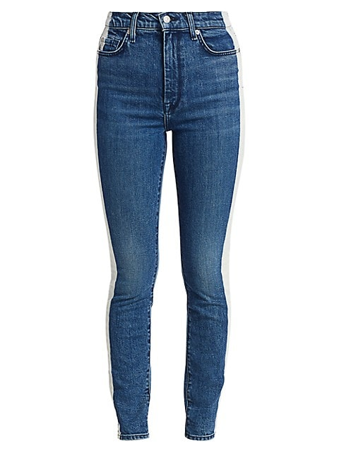 High-Rise Bleached Side Stripe Ankle Skinny Jeans