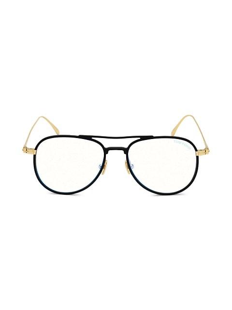 52MM Blue Block Aviator Eyeglasses