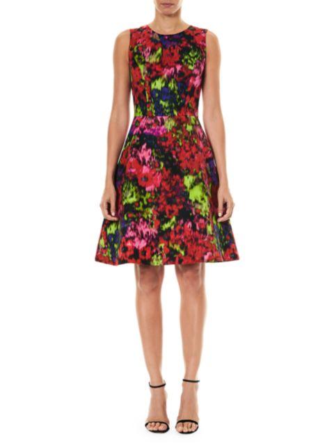 Carolina Herrera Sleeveless Floral A-Line Dress | SaksFifthAvenue