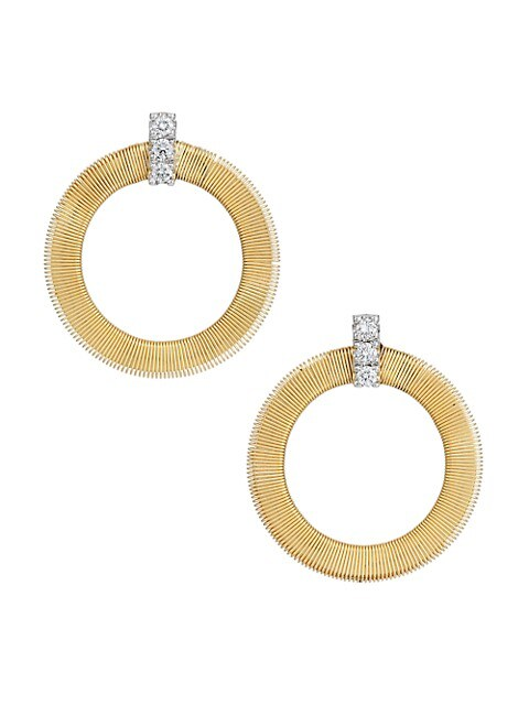 Masai 18K Yellow Gold & Diamond Coil Circle Stud Earrings