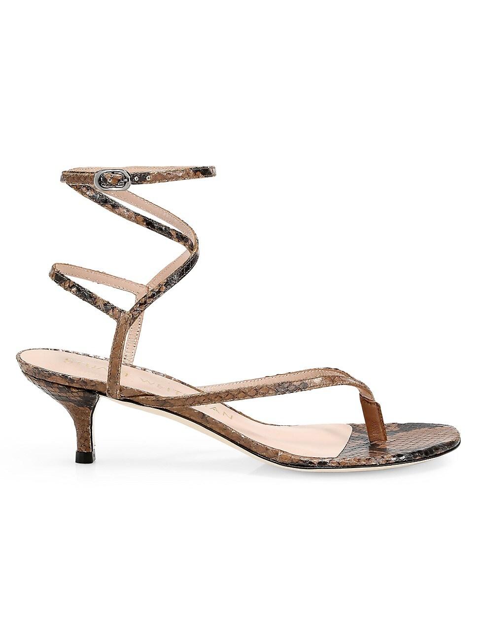 Stuart Weitzman Mid heels WOMEN'S JIMENA SNAKESKIN-EMBOSSED LEATHER THONG SANDALS