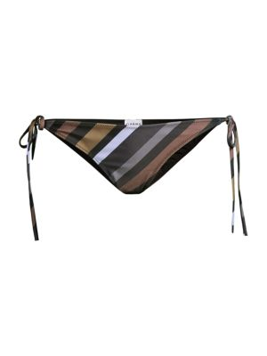 Ganni Women's Striped String Bikini Bottom In Neutral