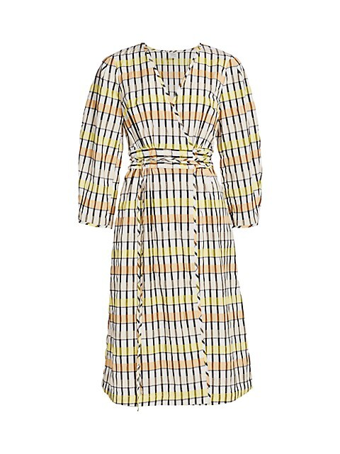 Dance Abylene Gingham Puff-Sleeve A-Line Wrap Dress