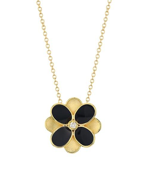 Petali 18K Yellow Gold, Black Enamel & Diamond Small Flower Pendant Necklace
