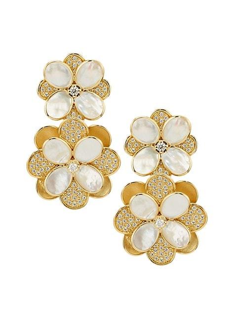 Petali 18K Yellow Gold, Diamond Pavé & Mother-Of-Pearl Double-Drop Flower Earrings