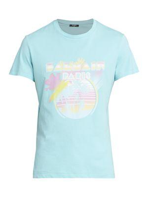 Balmain Men's Palm Tree Printed T-shirt In Blue Multi