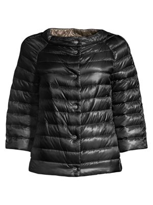 Herno Women's Classic Nylon Reversible Down Filled Puffer Jacket In Black