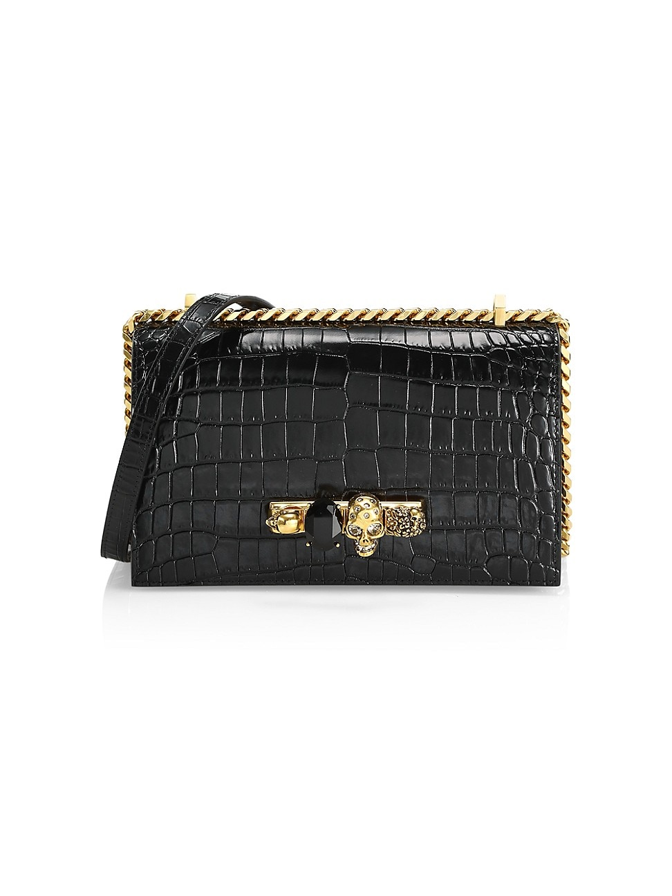 Alexander Mcqueen Women's The Croc-embossed Jewelled Leather Satchel In Black