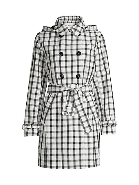 Vichy Check Double-Breasted Trench Coat
