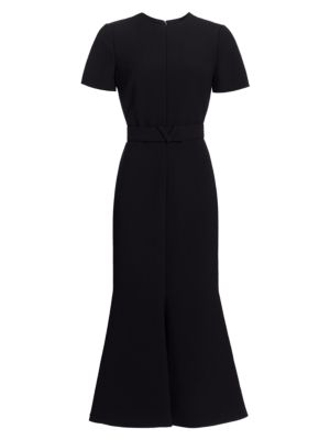 Valentino Short Sleeve Trumpet Midi Dress