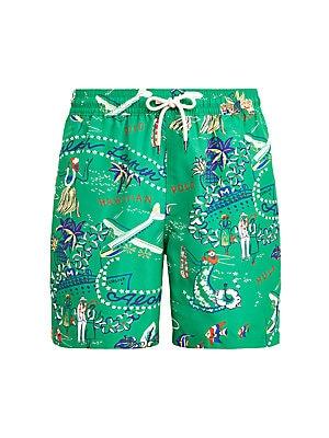 Skull Green camo Extended Solid Side Split Swim Shorts