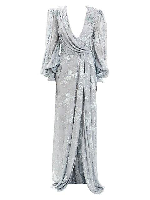 Beaded Metallic Drape V-Neck Gown
