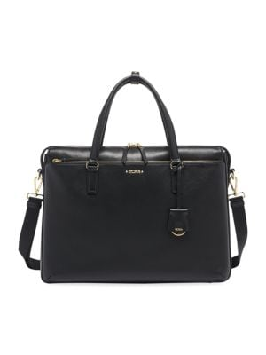 Tumi Voyageur Chandler Leather Business Brief In Black