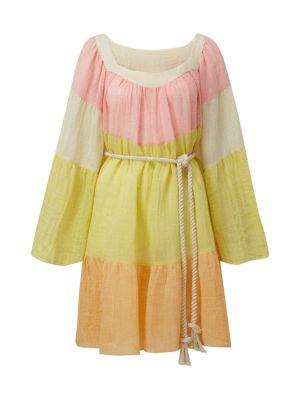 Lisa Marie Fernandez Colorblock Linen Peasant Dress