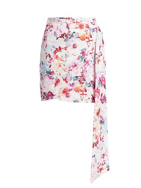 Floral Side Drape Mini Wrap Pencil Skirt