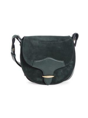 Isabel Marant Botsy Leather-trimmed Suede Saddle Bag In Petrol