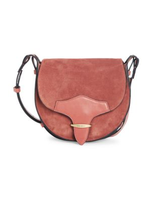 Isabel Marant Botsy Leather-trimmed Suede Saddle Bag In Rust
