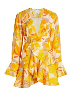 Acler Corsica Floral Wrap Mini Dress