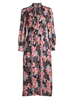 Rebecca Taylor Women's Jardin Floral Dress In Indigo Combo