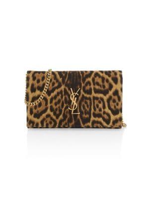 Saint Laurent Women's Monogram Leopard-print Cotton Wallet-on-chain In Neutral