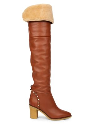 VALENTINO Valentino Garavani Rockstud Shearling-Lined Leather Over-The-Knee Boots