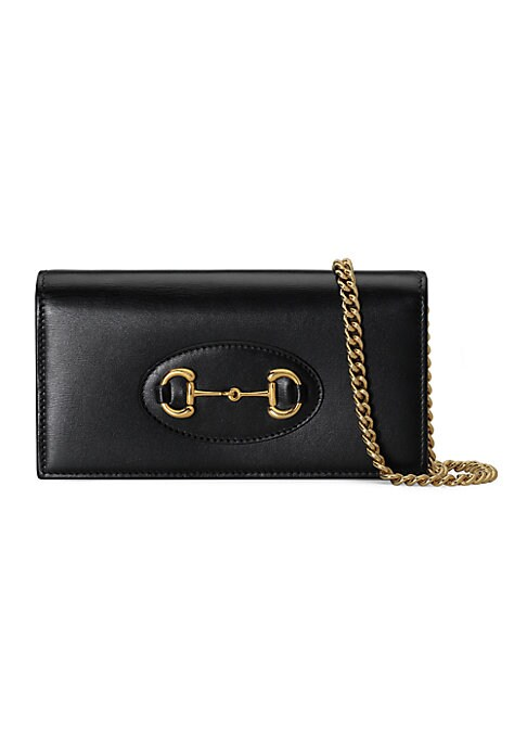 Goldtone hardware Moiré and suede lining Horsebit detail 6 credit card slots 1 zipper pocket 1 open pocket Detachable chain with 22.8\\\