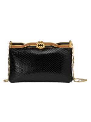 Gucci Women's Broadway Python Evening Bag With Twisted Enamel In Black