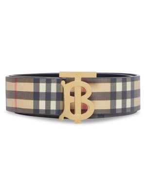 Monogram Hand-Painted Vintage Check E-Canvas Leather Belt