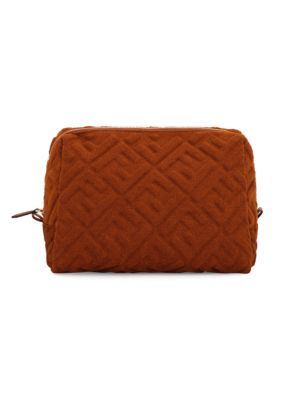 Fendi Large Ff 1974 Embossed Terry Pouch In Cognac