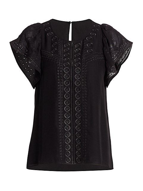 America Embroidered Flounce-Sleeve Top