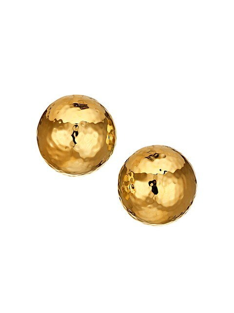 Large Hammered 22K Goldplated Dome Clip-On Earrings
