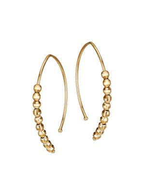 Mizuki 14k Yellow Gold Bead Small Marquise Hoop Earrings