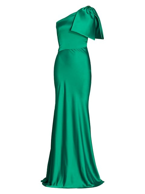 Aubrey Bow One-Shoulder Gown