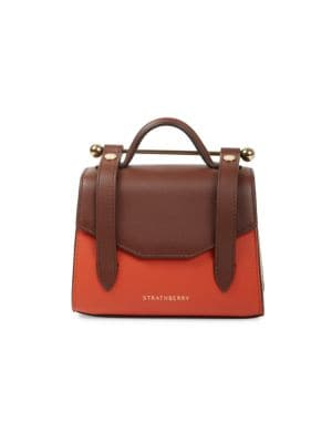 Strathberry Micro Allegro Bi-Color Leather Satchel
