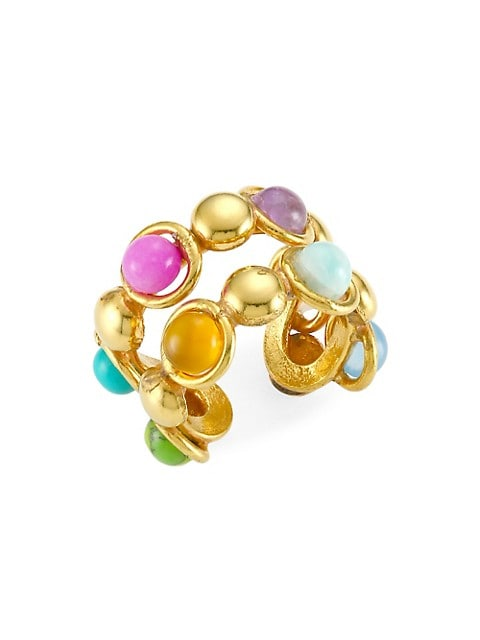 Dots Double 22K Goldplated & Multi-Stone Ring