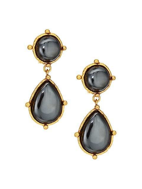 22K Goldplated & Hematite Double-Drop Clip-On Earrings